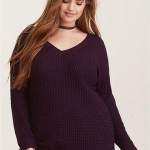 TORRID Plus Size Purple Open Knit Sweater Size 1X
